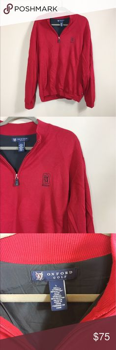 Oxford Golf Boston TPC Red Pullover Sweater Oxford Golf Boston TPC Red Pullover Sweater. Excellent condition, worn once! Boston TPC edition. Polyester lined inside. Front zip up detail. Size L. No modeling/trades. Oxford Golf Sweaters