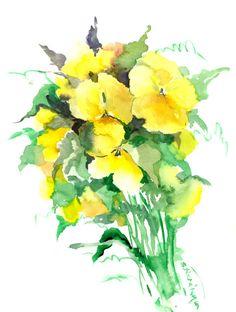 Pansies, original watercolor painting 12 X 9 yellow flowers garden flowers