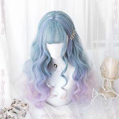 Lolita Pastel Blue Purple Ombre Long Curly Wig from Tony Moly Store - Langhaarfrisuren Purple Ombre, Purple Wig, Pastel Blue, Pastel Wig, Kawaii Hairstyles, Pretty Hairstyles, Braided Hairstyles, Teenage Hairstyles, Anime Hairstyles