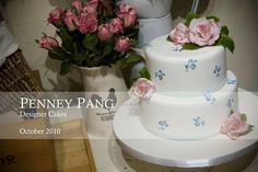 hand painted cake vintage tea rose design by Penney Pang Designer Cakes