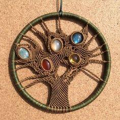 Macrame crystal tree of life