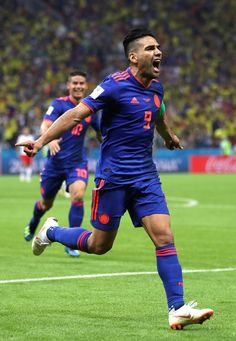 Radamel Falcao of Colombia celebrates after scoring his team's second goal during the 2018 FIFA World Cup Russia group H match between Poland and Colombia. World Cup 2018, Fifa World Cup, Carlos Valderrama, Types Of Photography, European Football, Real Madrid, Poland, Russia, Soccer