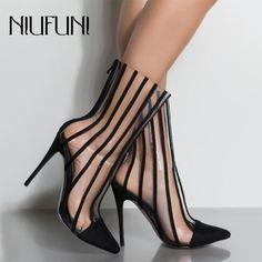 De moda transparente de PVC botas sandalias de Punta Delgada tacones zapatos  claro Mujer botas mujeres 00522ecf8f49