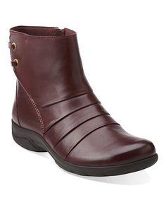 Look at this #zulilyfind! Burgundy Christine Tilt Leather Bootie #zulilyfinds