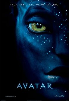 Avatar movie poster by James Cameron with Sam Worthington, Zoe Saldana, and Sigourney Weaver.