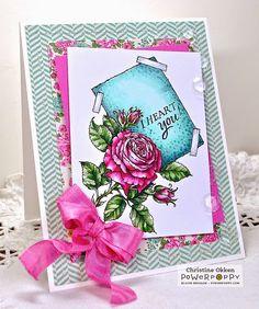 ChristineCreations: I Heart You - La Vie En Rose Digital Stamp Set by Power Poppy, card design by Christine Okken.