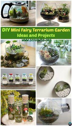 Create your own Mini Fairy #Terrarium Gardens with these miniature terrarium gardens, small water gardens, or both. -->> http://www.diyhowto.org/diy-mini-fairy-terrarium-garden-ideas/ #Gardening, #Indoor                                                                                                                                                                                 More
