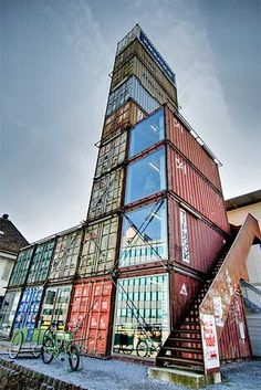 freitag container shop This is amazing alternative living. I have wanted to do this, but haven't the space nor money. Container Architecture, Architecture Design, Industrial Architecture, Amazing Architecture, Container Shop, Cargo Container, Container House Design, Shipping Container Buildings, Shipping Container Homes