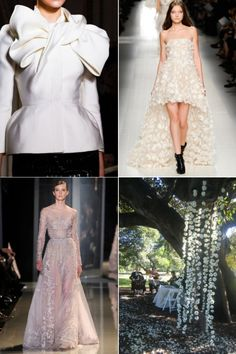 The most popular pins on Vogue's Bridal Pinterest board : Clockwise, from top left:554 re-pins of a detail of Giambattista Valli's haute couture spring/summer '12/'13.53 re-pins of this Blumarine spring/summer '14 dress fromThe edit: 14 short wedding dresses to buy now.Expert advice from Sydney's stand-out florist Saskia Havekes from Grandiflora, 160 re-pins.An Elie Saab dress, 224 re-pins from Bridal trends from Paris couture.
