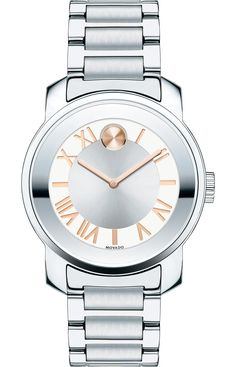 Movado Bold - Movado BOLD Luxe watch, 32 mm stainless steel case, silver-toned dial with rose gold-toned sunray dot, hands and recessed Roman numerals and markers, stainless steel link bracelet with push-button deployment clasp, K1 crystal, Swiss quartz movement, water resistant to 30 meters.