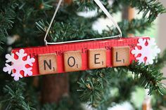 scrabble tile ornaments...could have kids names on them?