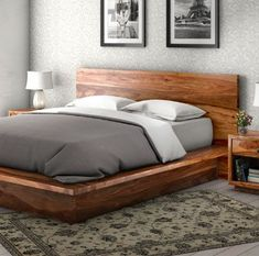 California Modern Solid Wood King Size Platform Bed Frame 3pc Suite Solid Wood Platform Bed, King Size Platform Bed, Solid Wood Beds, Platform Bed Frame, King Size Bed Frame, Modern King Bed Frame, King Size Beds, Modern Wood Bed, Modern Beds