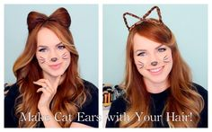 Is it not the cutest?! 2 Ways to Make Cat Ears with your Hair!! A great quick and cute Halloween costume option.