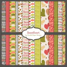 Free scrapbook paper pack Sweetheart from Pixeled Paper Designs