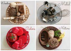 cesta de los tesoros Por materiales, colores y tipos