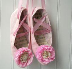 Upcycled pink ballet slippers girls vintage by hopeandjoystudios