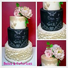 Bolo Casamento Moderno Modern wedding cakes Estilo lousa / quadro negro Blackboard cakes