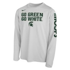 85ea0e5f360 Michigan State Spartans Nike Youth 2018 NCAA Men s Basketball Tournament March  Madness Bench Long Sleeve Performance T-Shirt – White