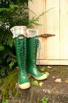 """Love this idea - especially if you could incorporate custom fabric to follow trends...they are called """"Slugs"""" and are cuffs for the tops of your rain boots! on Etsy, of course"""