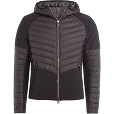Colmar Quilted Panel Jacket (593,990 KRW) ❤ liked on Polyvore featuring men's fashion, men's clothing, men's outerwear, men's jackets, black, mens hooded jackets and mens quilted jacket