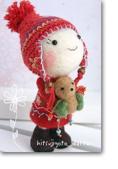 *NEEDLE FELTED ART ~  peeled the top of image: ... or was each sheep