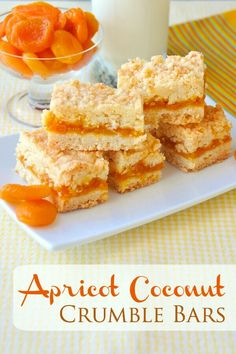 Apricot Coconut Crumble Bars a scrumptious flavour combination! is part of Crumble bars - These Apricot Coconut Crumble Bars are a twist on a lemon version of the same cookie bars recipe but could easily be made with any jam filling you prefer Cookie Desserts, Just Desserts, Cookie Recipes, Delicious Desserts, Dessert Recipes, Apricot Bars, Apricot Slice, Lemon Cookies, Bar Cookies