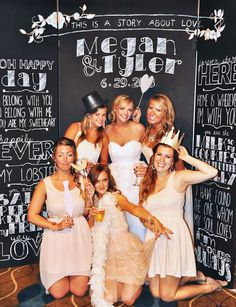 Chalkboard wedding photo booth with the bride and groom's story. Must get a few shots in the photo booth with bride and bridesmaids! Diy Wedding Photo Booth, Diy Photo Booth, Photo Booth Backdrop, Wedding Photos, Photo Shoot, Photo Booths, Photo Props, Party Fiesta, Festa Party
