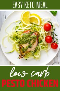 Low Carb Pesto Chicken is a delicious easy recipe that comes together in a flash! Serve it over zucchini noodles for a complete low carb meal! #KetoPestoChicken #KetoRecipes Chicken Pesto Recipes, Pesto Chicken, Marinated Chicken, Keto Recipes, Dinner Recipes, Easy Recipes, Keto Foods, Oven Chicken, Chicken Pizza