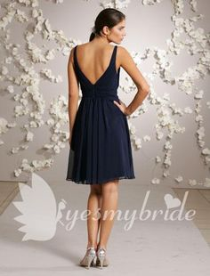 indigo bridesmaid dress | Indigo V Neck and Back A-line Knee-length Bridesmaid Dress