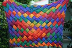 Entrelac blanket by iwriteplays-- I want to make this! Fabric Crafts, Sewing Crafts, Diy Crafts, Adult Crafts, Crafts For Kids, Knitting Projects, Crochet Projects, Coat Of Many Colors, Craft Gifts