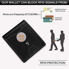59fa0518cb Portafoglio Uomo RFID Blocking con cartoline e borsa,Trifold Slim Portafogli  in vera pelle con