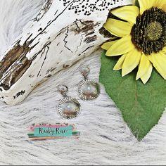 Double Concho Earrings – Ruby Rue Jewelry & Accessories Aztec Earrings, Fringe Earrings, Turquoise Earrings, Leather Earrings, Hoop Earrings, Silver Glitter, Paisley, Jewelry Accessories, Drop