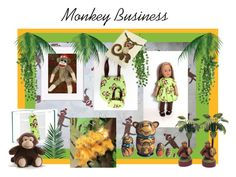 """Monkey Business"" by thesandlappershop ❤ liked on Polyvore featuring art and CTEtsy"