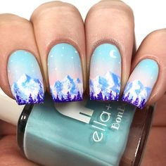 20 Pretty Winter Nail Designs That Are Too Cool We are fa-la-la-la-loving how we can mix up our everyday manicure this winter. While we& never stop loving classic Christmas nail art, we& always looking for. Winter Nail Designs, Cute Nail Designs, French Nails, Cute Nails, Pretty Nails, Glittery Nails, Silver Glitter, American Nails, Blue Nail Polish