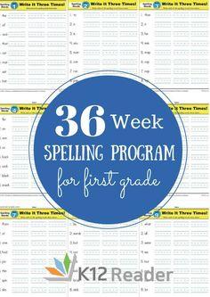 FREE Printable 36-Week First Grade Spelling Program | Homeschool Giveaways