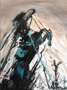 Anna Olmo - cavallo, acquarello su tela 50x70