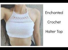 Crochet Swimwear DIY Crochet Top: The Enchanted Halter I am Krystal Everdeen! For those of you wh Tops Tejidos A Crochet, Diy Crochet Top, Débardeurs Au Crochet, Crochet Summer Tops, Crochet Woman, Crochet Baby, Bikinis Crochet, Crochet Halter Tops, Crochet Bikini Top