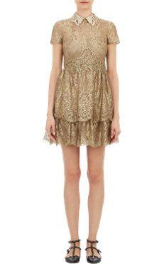 Valentino Leather-Collar Lace Bambolina Dress