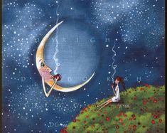 Bending The Moons Ear   a small Friends Moon Coffee Break Poppy field Spring PRINT by Deborah Gregg