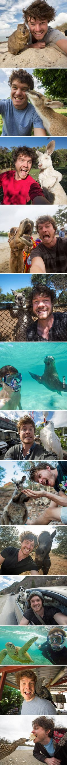 This Guy Mastered The Art Of Animal Selfies.