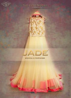 An ethereal Anarkali from the 'Gold Mogra Collection' in Soft Hues to brighten up the day festivities! #jadebyMK #jade_byMK #jade #anarkali #mogra #ivory #gold