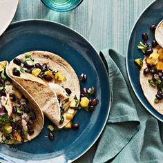 Tilapia Tacos with Roasted Pineapple-Black Bean Salsa.