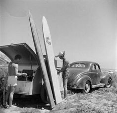 Beach style we had a teardrop trailer just like this! Snowboard, Surf Vintage, John Russell, Sup Surf, The Beach Boys, Surf Art, Vintage Trailers, Surf Style, Surfs Up