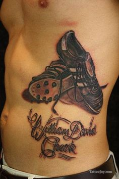 Free tattoo photo gallery, tattoo shops, tattoo designs, samples, and everything else you need to find the right tattoo. Soccer Tattoos, Football Tattoo, Sport Tattoos, Nike Tattoo, Gorgeous Tattoos, Football Shoes, Tattoo Sketches, Skin Art, Tattoo Designs Men
