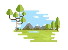 Spring Landscaping Anime - - Landscaping Design New Zealand - Design Ios, Vector Design, Game Design, Vector Art, Flat Design Illustration, Landscape Illustration, Digital Illustration, Flat Landscape, Simple Art