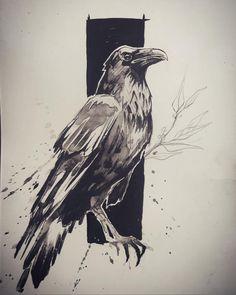 "556 Likes, 4 Comments - L'oiseau (@loiseautattoo) on Instagram: ""#crow #crowtattoo #watercolor #watercolortattoo #blackworkerssubmission #blackworkers…"""