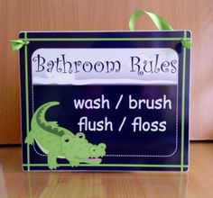 Wash Brush Flush and Floss bathroom rules wall sign  by kasefazem, $16.99