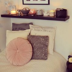 love the shelf above the bed for little trinkets & candles
