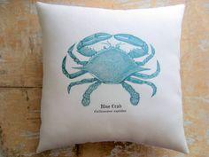 Beach Cottage Curtains | Beach Pillow, Blue Crab, Nautical, Ocean, Beach Decor, Cottage Decor ...