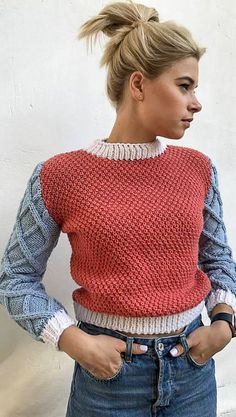 Knit top clothing red blue sweater long sleeve jumper white collar sweater gift for lady fall sweater pullover cozy wool sweater soft women, Knit top clothing red blue sweater long sleeve jumper white collar sweater gift for lady fall sweate. Casual Sweaters, Winter Sweaters, Long Sweaters, Blue Sweaters, Sweaters For Women, Knit Fashion, Knitwear Fashion, Look Chic, Pulls